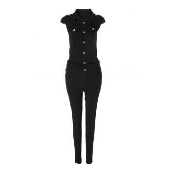 Stylish Short Sleeve Turn-Down Neck Chained Women's Jumpsuit
