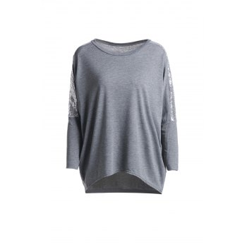Refreshing Glitter Sequin Spliced Solid Color Blouse For Women - GRAY L
