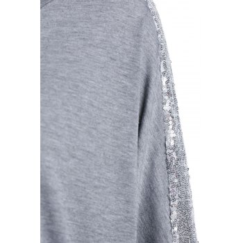 Refreshing Glitter Sequin Spliced Solid Color Blouse For Women - GRAY GRAY