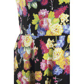 Sweet Style Sleeveless Sweetheart Neck Floral Print Women's Dress - COLORMIX M