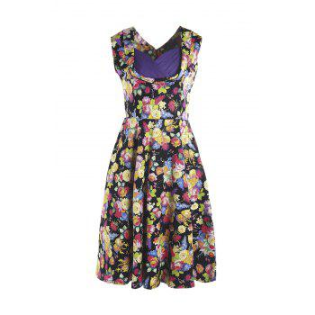 Sweet Style Sleeveless Sweetheart Neck Floral Print Women's Dress
