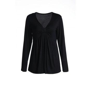 Casual V-Neck Solid Color Slimming Long Sleeve Women's T-Shirt
