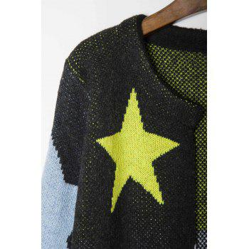 Fashionable Round Collar Star Pattern Long Sleeve Women's Cardigan - BLACK ONE SIZE(FIT SIZE XS TO M)