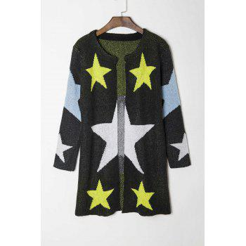 Fashionable Round Collar Star Pattern Long Sleeve Women's Cardigan