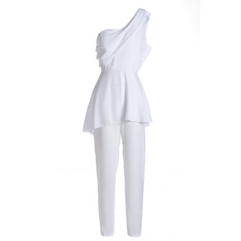 Sexy Sleeveless One Shoulder Spliced Women's White Jumpsuit