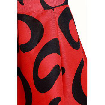 Sweet Abstract Print Zippered Mid-Calf Skirt For Women - RED RED