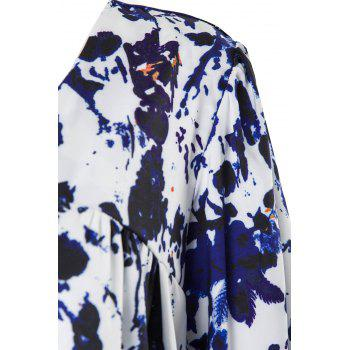 Casual V-Neck 3/4 Sleeve Plus Size Printed Women's Blouse - BLUE 3XL
