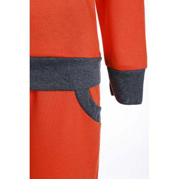 Casual Round Collar Long Sleeve Pocket Design Color Block Women's Activewear Suit - JACINTH S