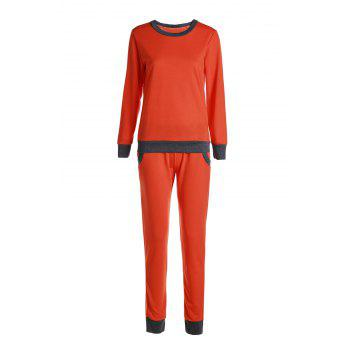 Casual Round Collar Long Sleeve Pocket Design Color Block Women's Activewear Suit