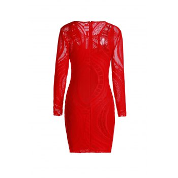Long Sleeve See-Through Dress - ONE SIZE(FIT SIZE XS TO M) ONE SIZE(FIT SIZE XS TO M)