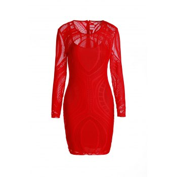 Long Sleeve See-Through Dress - RED ONE SIZE(FIT SIZE XS TO M)