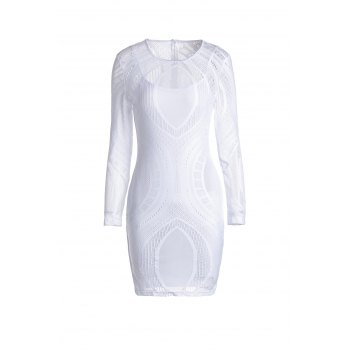 Sexy Scoop Neck Long Sleeve See-Through Solid Color Slimming Women's Dress