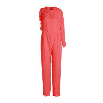 Stylish Solid Color Hollow Out Sleeve Plus Size Chiffon Jumpsuit For Women