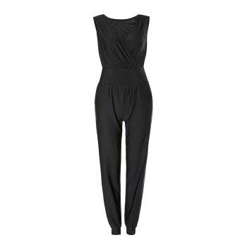 Charming V-Neck Solid Color Sleeveless Jumpsuit For Women