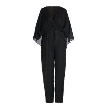 Concise Solid Color High Waist Batwing Sleeve Chiffon Jumpsuit For Women