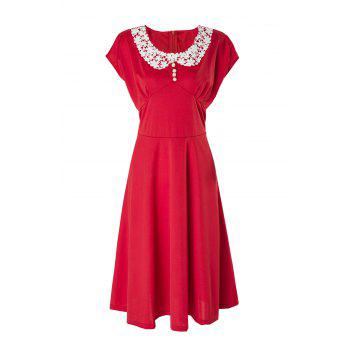 Vintage Cap Sleeve Peter Pan Collar Lace Crochet Women's Dress