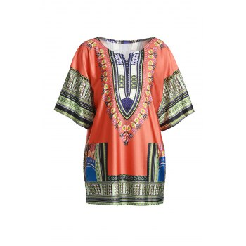Ethnic Style 1/2 Sleeve Colorful Printed Loose Dress For Women