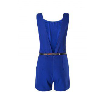 Concise Round Collar Solid Color Backless Slit Mini Romper For Women