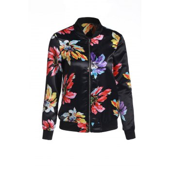 Stylish Floral Printed Scoop Neck Jacket For Women