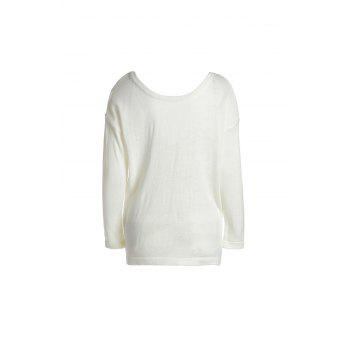 Stylish Long Sleeve Round Neck Loose-Fitting Backless Women's Knitwear - MILK WHITE L