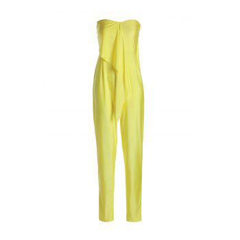 Stylish Sleeveless Strapless Self-Tie Solid Color Women's Jumpsuit