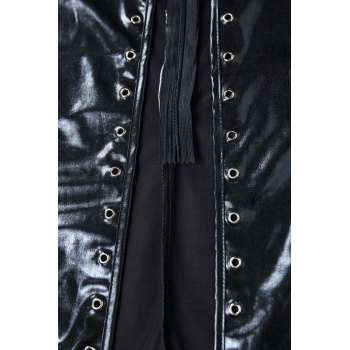 Attractive Black Faux Leather Hollow Out Lace-Up One-Piece Dancing Wear+G-String Twinset For Women - BLACK BLACK