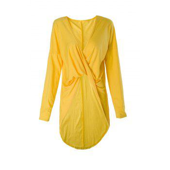 Sexy Front Criss-Cross Ruched Asymmetric Solid Color T-Shirt For Women - YELLOW L