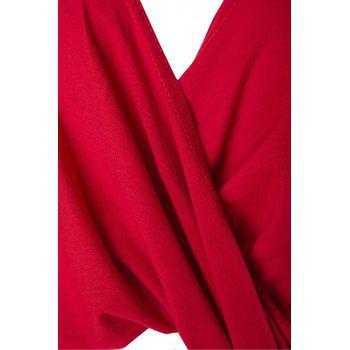 Sexy Front Criss-Cross Ruched Asymmetric Solid Color T-Shirt For Women - RED M