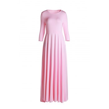 Elegant Pink Round Collar 3/4 Sleeve Dress For Women