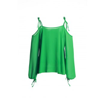 Sexy Long Sleeve Spaghetti Strap Hollow Out Green Women's Chiffon Blouse - GREEN L