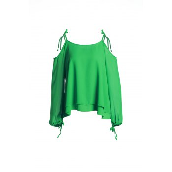 Sexy Long Sleeve Spaghetti Strap Hollow Out Green Women's Chiffon Blouse