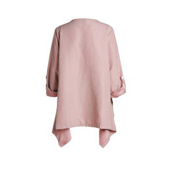Trendy Long Sleeve Turn-Down Collar Solid Color Women's Coat - PINK 2XL