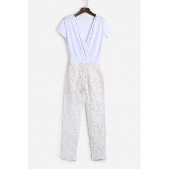 Trendy See-Through Lace Spliced Plunging Neck Jumpsuit For Women
