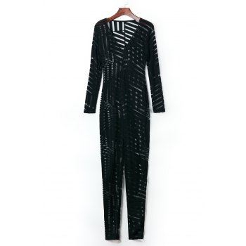 Sexy Plunging Neck Striped See-Through Long Sleeve Women's Jumpsuit