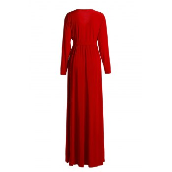 Stylish V-Neck 3/4 Sleeve Solid Color Plus Size Women's Dress - RED RED