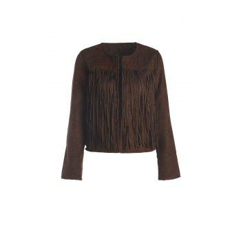 Stylish Round Neck Long Sleeve Fringed Solid Color Women's Jacket