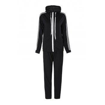 Active Long Sleeve Hooded Striped Jacket + Waist Drawstring Pants Women's Activewear Suit - BLACK XL