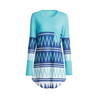 Stylish Scoop Neck Zig Zag Print Long Sleeve Women's T-Shirt
