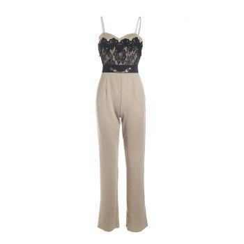 Elegant Spaghetti Strap Low-Cut Lace Spliced Jumpsuit For Women