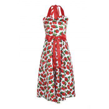 Retro Style Strawberry Print Halter Sleeveless Dress For Women