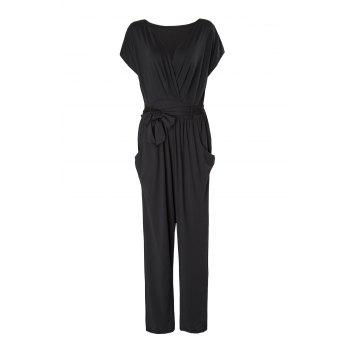 Stylish V-Neck Short Sleeve Self-Tie Bowknot Solid Color Women's Jumpsuit