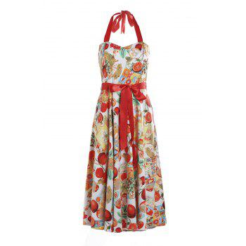 Retro Style Fruits Print Halter Sleeveless Dress For Women