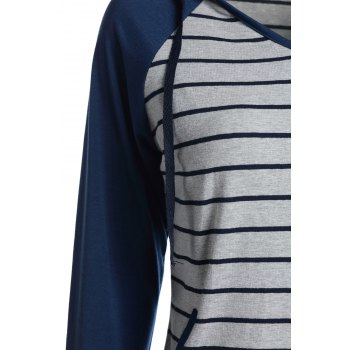 Chic Hooded Long Sleeve Pocket Design Striped Women's Hoodie - S S