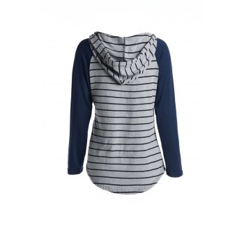 Chic Hooded Long Sleeve Pocket Design Striped Women's Hoodie - L L