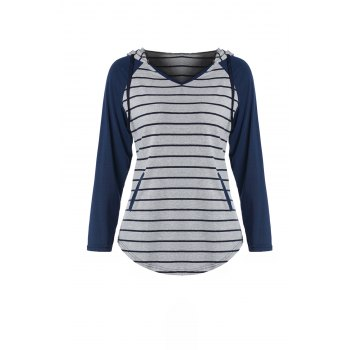 Chic Hooded Long Sleeve Pocket Design Striped Women's Hoodie - GRAY L