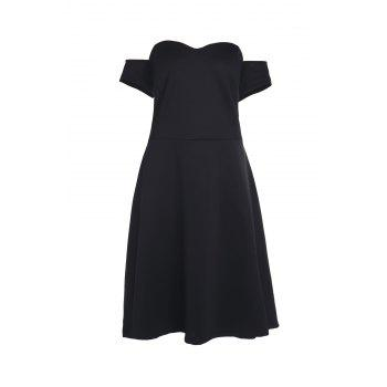 Sexy Sleeveless Off-The-Shoulder Black Plus Size Women's A-Line Dress