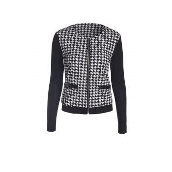 Stylish Color Block Houndstooth Printed Coat For Women