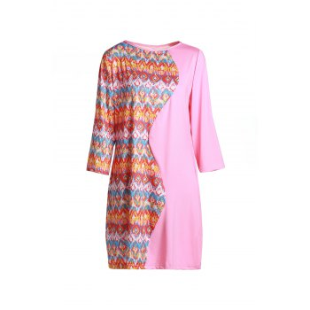 Casual Round Collar 3/4 Sleeves Printed Spliced Women's Dress
