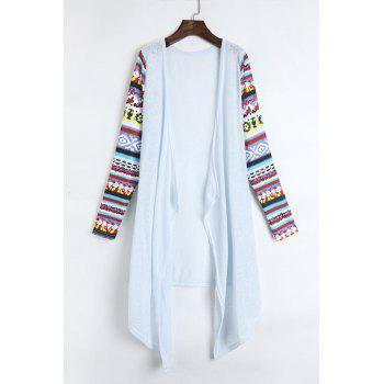 Stylish Collarless Long Sleeve Draped Printed Women's Thin Cardigan