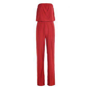 Sexy Solid Color Low-Cut Strapless Wide-Leg Jumpsuit For Women